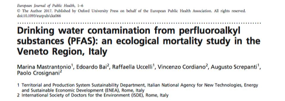 I Pfas versati in Veneto ammazzano. Lo svela una ricerca pubblicata sul European Journal of Public Health